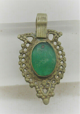 Beautiful Late Medieval Silvered Ottomans Pendant With Green Gem Inset