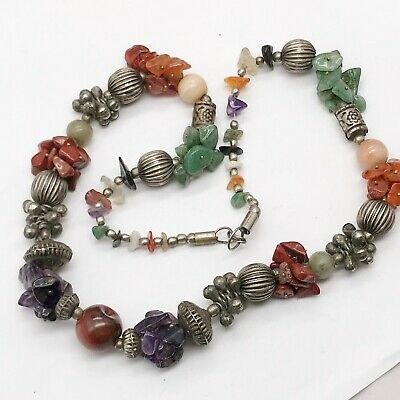 Antique Chinese Ladies Necklace Coral Jade Agate Amethyst Silver Metal Sections