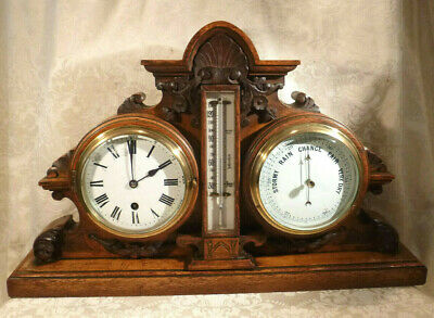 Original Antique Victorian English Mantel Clock Thermometer Barometer Carved Oak