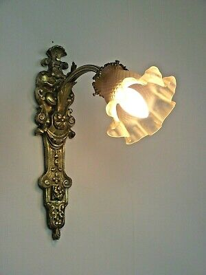 French Art Nouveau Bronze Wall Sconce Floral Design White Glass Shade 1565