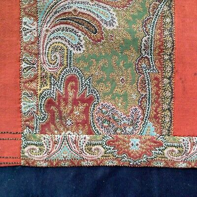 fine mideastern antique textiles: russet red w woven paisley bands 64 by 12""
