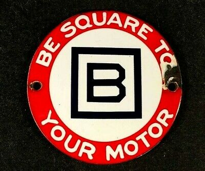 Vntg BARNSDALE BE SQUARE TO YOUR MOTOR SIGN PORCELAIN Rare Old Advertising 1950s
