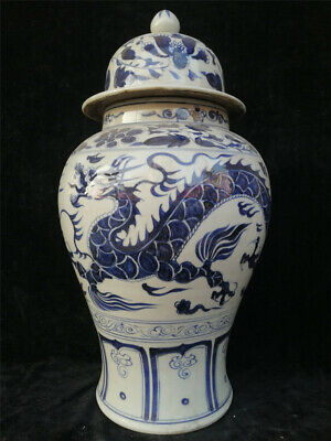 """19.69"""" Chinese Blue and white Porcelain Hand painted Dragon General tank pot"""