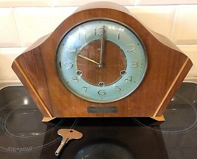 SMITHS 8 DAY WESTMINSTER CHIMING MANTEL CLOCK. With Key UNTESTED
