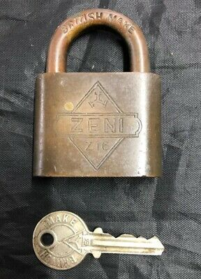 Antique Brass Padlock with one Key working British ZENI Lock