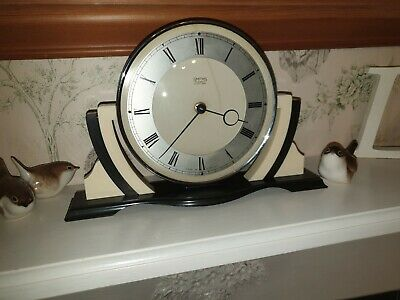 Iconic English Art Deco Chrome, Black and White Bakelite Mechanical Mantel Clock