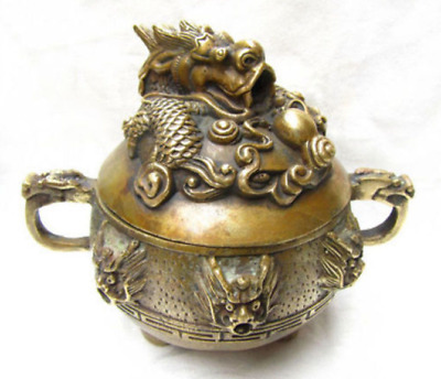 China Antiques Old carved bronze dragon incense burner