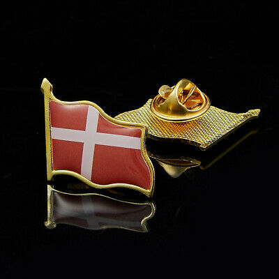 Denmark Waving Epoxy Flag Lapel Pin Badge Brooch Clothes/Hat/Tie Accrssories
