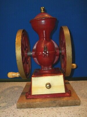 John Wright Wrightsville PA Coffee Mill Bean (2) Wheel Grinder Red Cast Iron