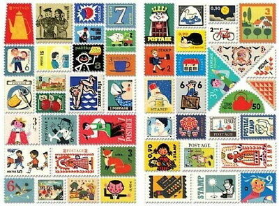 Stamp Decorative 100 Stickers Ver.3 - Czech Republic 7321 Design Gift Present