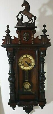 Antique Walnut Vienna Regulator chiming Wall Clock, rampant horse, gwo,very nice
