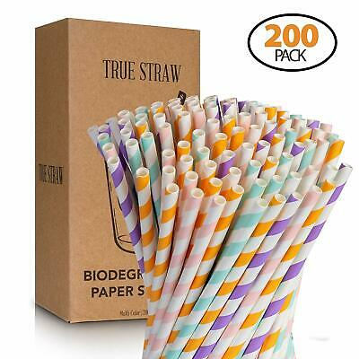 Paper Straws True Straw 200-Pack Premium Biodegradable, 4 Colors PARTY