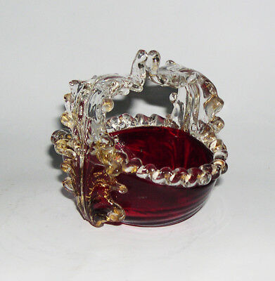 Vintage Attractive Small Basket In A Red Ruby & Clear Glass With Hints Of Gold.