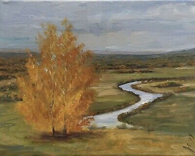 "Original oil painting, Landscape, BIRCHES, AT THE RIVER BEND 8x10"" Schelp"