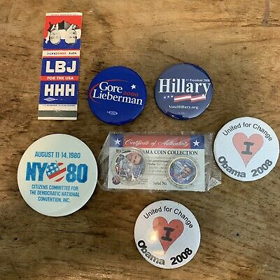 Democratic Party Political Campaign Button Lot Obama Coin Set Clinton Gore LBJ