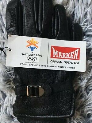 NEW Embroidered Leather Mans Gloves From 2002 Paralympic Games In Salt Lake,USA