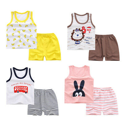 2 teiliges Babykleidung ärmellose T Shirt Tops & Shorts Outfits Sommer