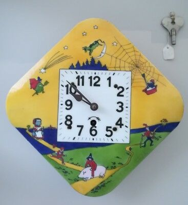 Clockwork Clock, German c1900 nursery rhyme