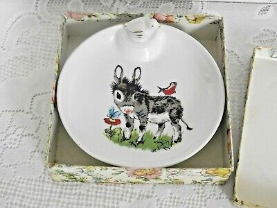 Vintage French Baby Ceramic Warming Dish Donkey Design & Duck Stopper 1223