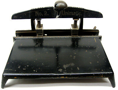 Rare S & T UNIMATIC Antique Cast Iron Large Deck Two Hole Paper Punch/Perforator