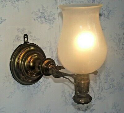Rare Old French Nautical Themed Ship Wall Lamp Heavy Brass Glass Shade 1430