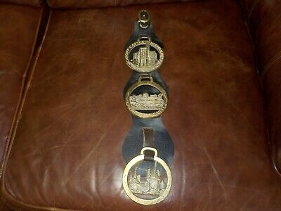 Lot of 3 Vintage Solid Brass Horse Bridle Medallions Castles Caerphilly Coch