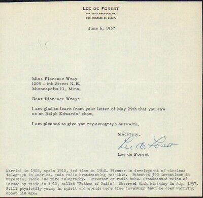 Lee DeForest typed letter signed by inventor of radio ! Autograph