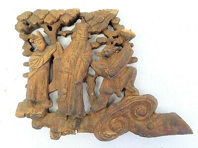 Old Carved Wood Wooden Asian Chinese Decorative Ornate Carving Tree Art