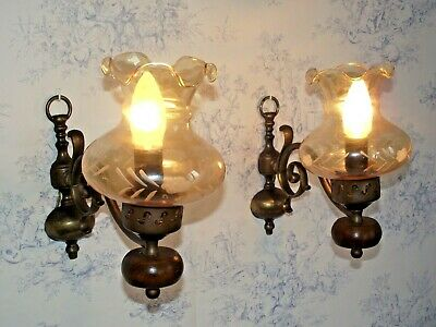 Pair French Country Style Wood & Bronzed Metal Wall Sconces Glass Shades 1325