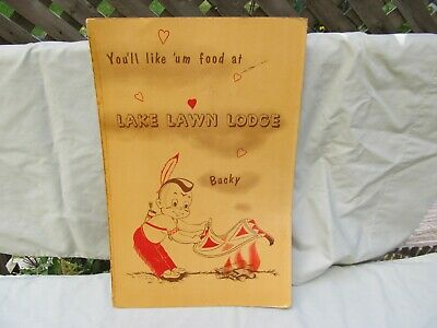 1950's DELAVAN WISCONSIN Menu / LAKE LAWN LODGE / Large Format / Good Condition
