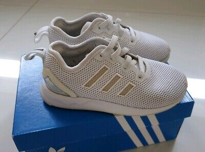 Boys Girls White Adidas ZX Flux ADV EL Ortholite Trainers UK 8