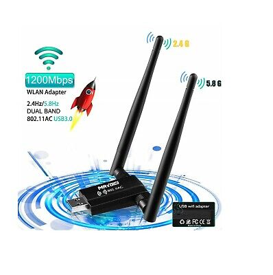 Dual 1200 Mbps Wifi Dongle USB Adapter Wireless LAN Network For Laptop PC 5GHz