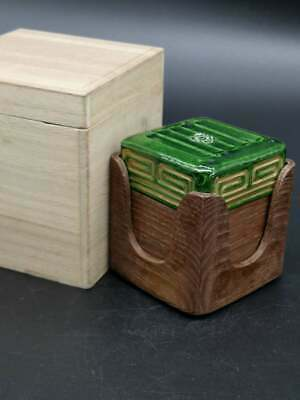 Japanese Tea Ceremony Pottery and wood Incense Container signed with box wood