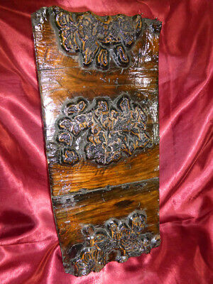 Antique HAND-CARVED WOODEN PRINTING BLOCK Wallpaper Textile Arts & Crafts floral