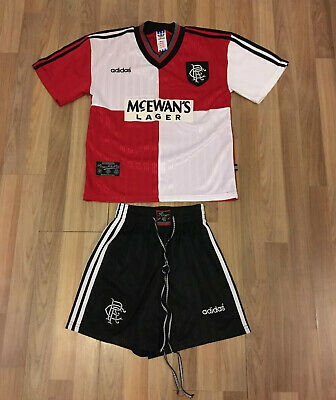 Glasgow Rangers Retro Adidas 1995/96 Away Football Kit YOUTH Shirt/ Top & Shorts