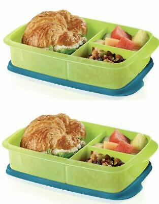 Tupperware 2 LARGE Divided Lunch It Containers Green & Blue BRAND NEW