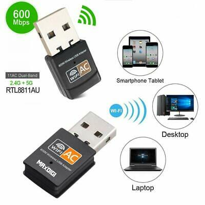 600 Mbps 2.4-5ghz USB Dual Band Wireless Adapter WiFi Dongle 802.11 AC Lapto PC