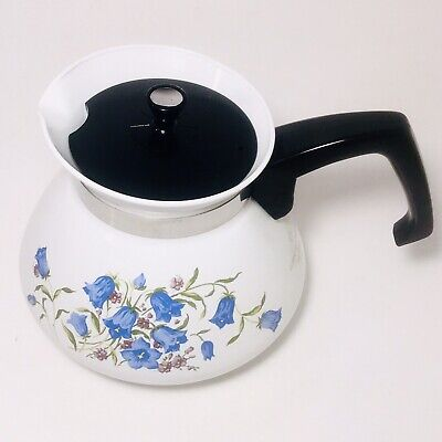 Corning Ware Blue Bell Canterbury Teapot 6 Cup Stove Top Tea Coffee Pot Corelle