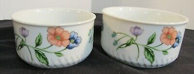 HOUSE OF PRILL Porcelain Ramekin Floral Poppy 1 Small 1 Medium Bowls Set of 2