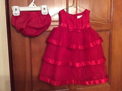 "Gymboree ""Dressed Up Line"" Baby Girl SZ 6-12m Red Tulle Tiered Dress Barely Worn"