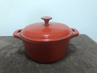 Large Red Enamel Cast Iron Dutch Oven