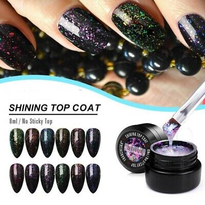 Shining Top Coat Quick Drying Non Sticky Long Lasting Shimmer Nail Art Top Gel