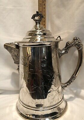 Antique William A Rogers Quadruple Silver Plate Ice Water Pitcher Fine Chasing N