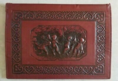 Antique French Tooled Embossed Leather Book Cover Archangel Cherub Angel