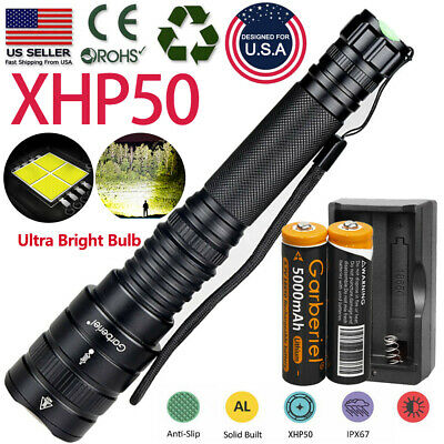 XHP50 900000Lumens Tactical Zoomable LED 18650 Flashlight Torch+Battery Powerful