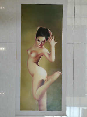 Hand made Modern abstract Oil Painting on Canvas Naked Lady no frame #b156