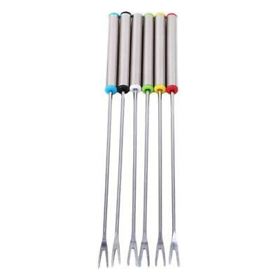6PCS Stainless Steel Fondue Dipping Forks Kitchen Craft Colour Coded Coloured F