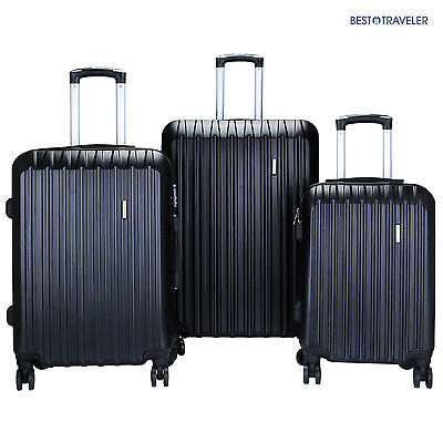 """1Set of 3 Luggage Set Travel Bag ABS Trolley Spinner Suitcase w/Lock 20"""" 24"""" 28"""""""