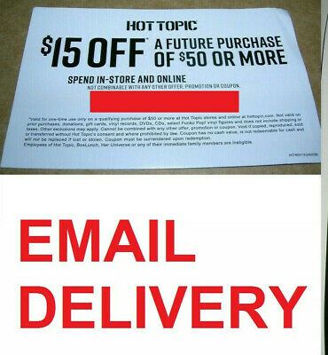 Hot Topic HotTopic.com coupon code, $15 off $50, online use only