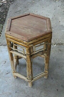 Vintage Bamboo Cane Side Table ~ 1970s 80s Retro Asia STYLE Boho Plant Stand